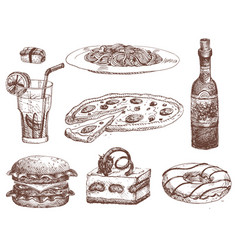 Hand drawn food sketch for menu restaurant product vector