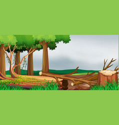 scene with forest and chopped woods vector image
