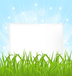 Natural card with green grass and paper sheet vector