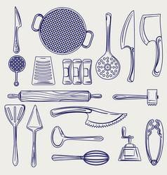 Hand drawn cutlery collection sketch vector