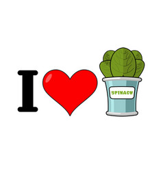 I love spinach heart and green leaf lettuce vector