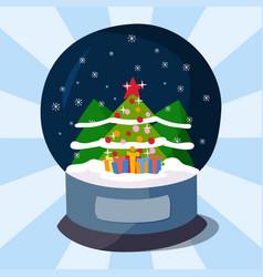 snow clobe christmas magic ball transparent vector image