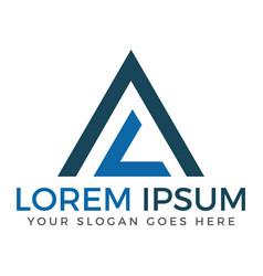 Al or la pyramid modern letter logo design vector