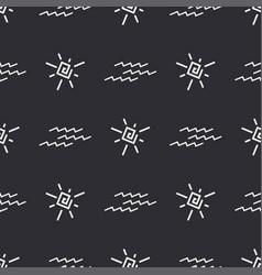 Flat monochrome seamless summer sun pattern vector