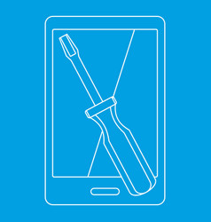 Renovation phone icon outline style vector