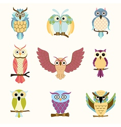 Set of nine cartoon colorful owls vector image