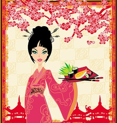 Traditional japanese pretty girl serves sushi vector