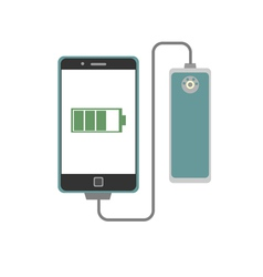 Smartphone charging with power bank vector