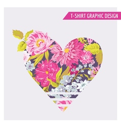 Floral heart graphic design - for t-shirt fashion vector