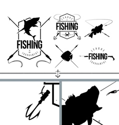 Fishing silhouettes signs and logo symbols set 1 vector