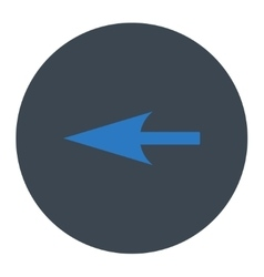 Sharp left arrow flat smooth blue colors round vector