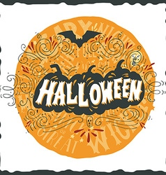 Halloween poster with hand lettering vector
