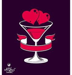 Valentine's day festive martini glass with decor vector