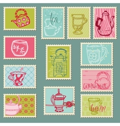 retro teapot stamps vector image