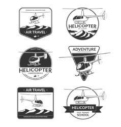 Set of helicopter logos labels design elements vector image