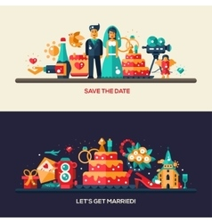 Flat design wedding and marriage banners set vector