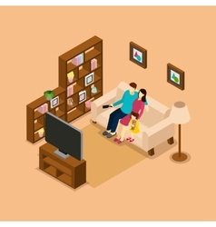 Family home watching tv isometric banner vector