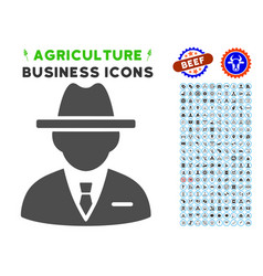 Agent icon with agriculture set vector