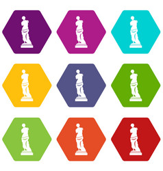 ancient statue icon set color hexahedron vector image