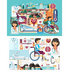 big set design medicine health vector image