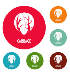 Cabbage icons circle set vector