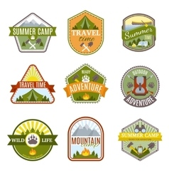 Camping Emblems Icon Set vector image vector image