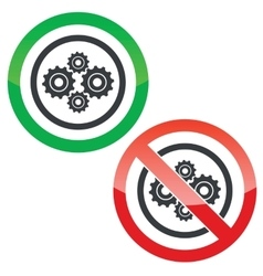Cogs permission signs vector