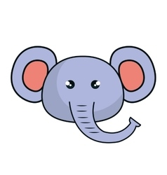 Cute elephant stuffed icon vector