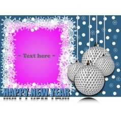 Frame happy new yearand golf ball vector