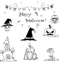 Happy halloween doodle element vector image