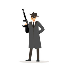 mafia man character in gray coat and fedora hat vector image vector image