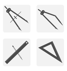 monochrome icon set with drawing tools vector image vector image