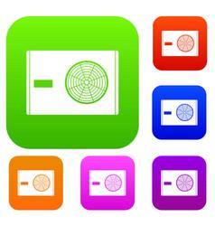 Outdoor compressor of air conditioner set color vector