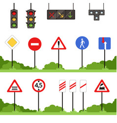 road signs set various traffic sign vector image vector image