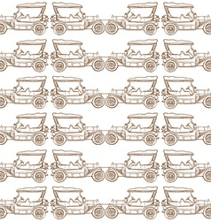 Seamless pattern of old vintage car vector
