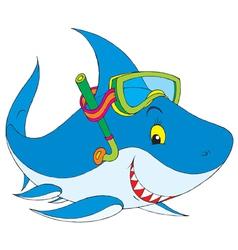 shark diver vector image