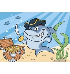 Shark pirate and treasure chest 2 vector image