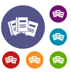 Three books with bookmarks icons set vector