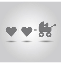Two love hearts and a baby love in the stroller vector image vector image