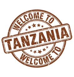 Welcome to tanzania brown round vintage stamp vector