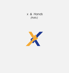 x - letter abstract icon amp hands logo design vector image vector image