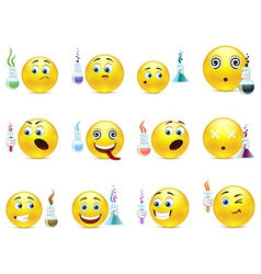 Young chemists smilies vector image vector image