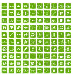 100 human health icons set grunge green vector