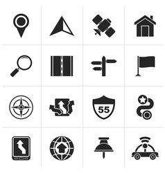 Black gps navigation and road icons vector