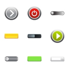 Buttons to push icons set flat style vector