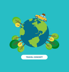 Travel around the world concept flat design vector