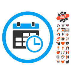 Date and time icon with love bonus vector