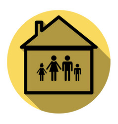 family sign flat black icon vector image