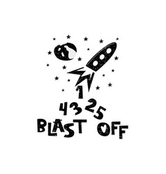 blast off rocket launch hand drawn style vector image