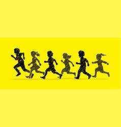 Little boy and girl running group of children run vector